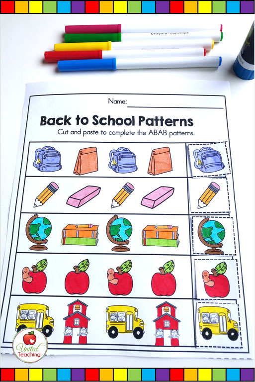 Back to school ABAB patterning math worksheet