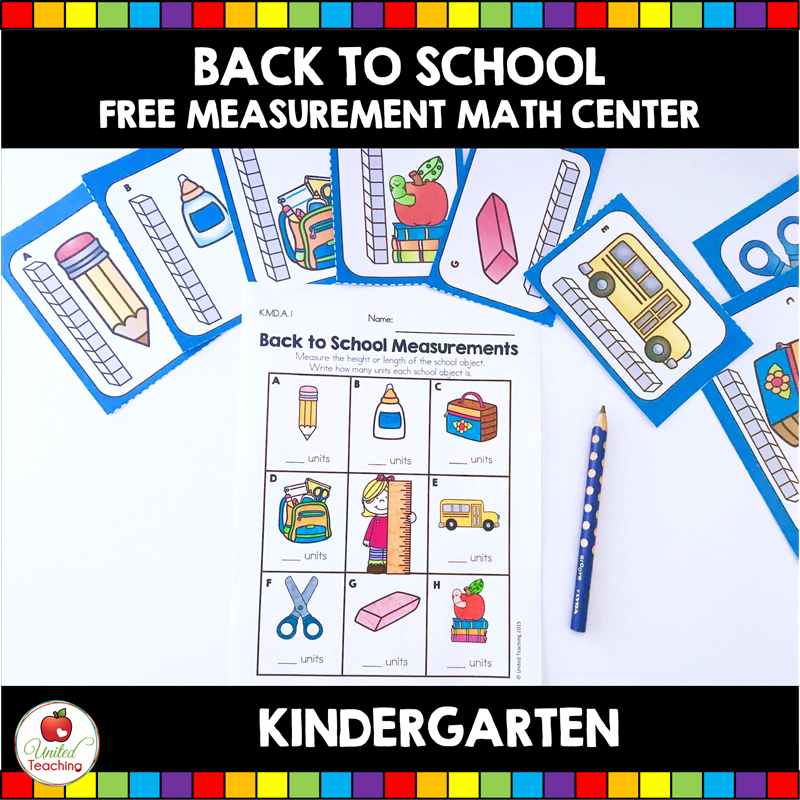 Back to School Free Measurement Math Center for Kindergarten Students