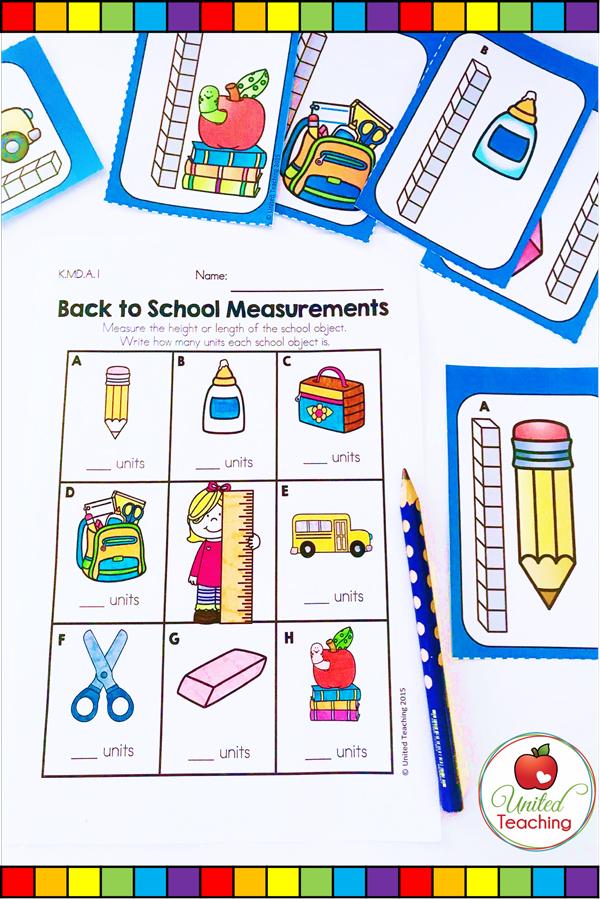 Back to School Non Standard Measurement math center