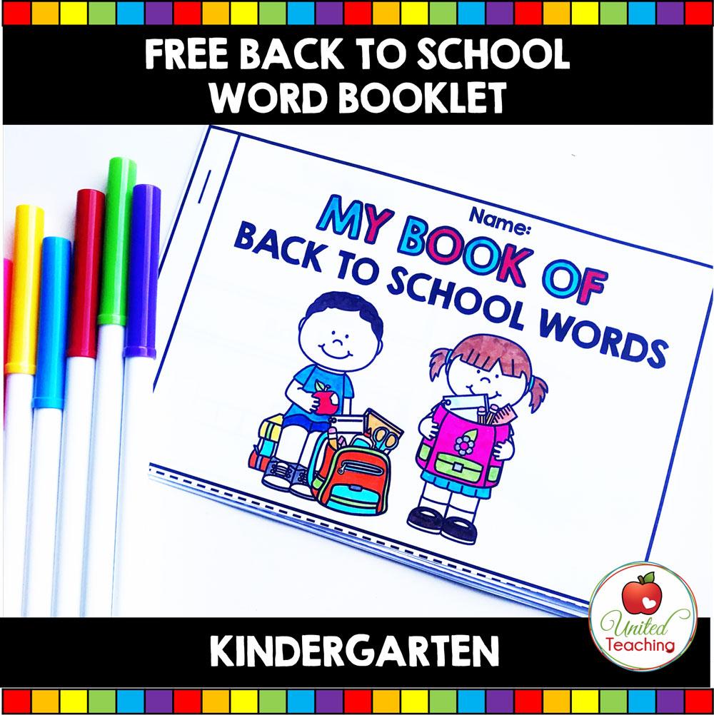 Free My Book of Back to School Words Activity for Kindergarten students.