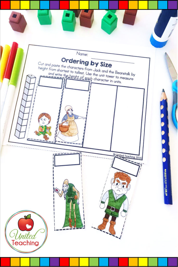 Jack and the Beanstalk fairy tale ordering by size no prep measurement math activity.
