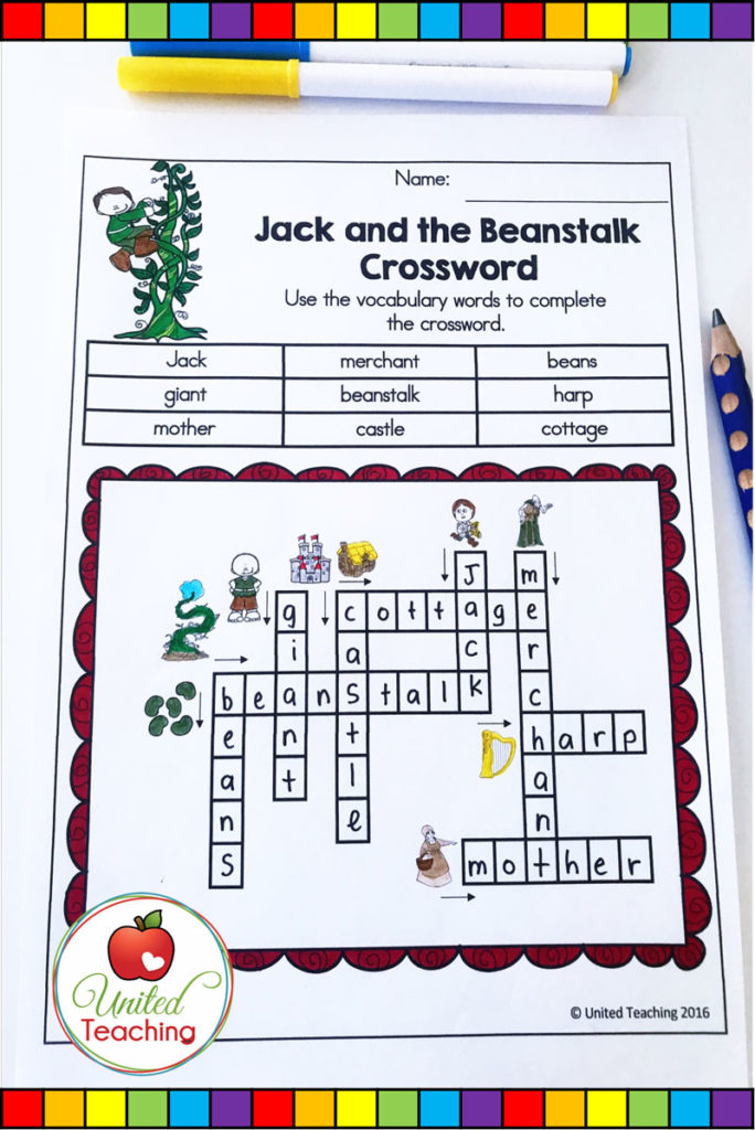 Jack and the Beanstalk fairy tale crossword. No prep worksheet for reinforcing the vocabulary in the fairy tale.