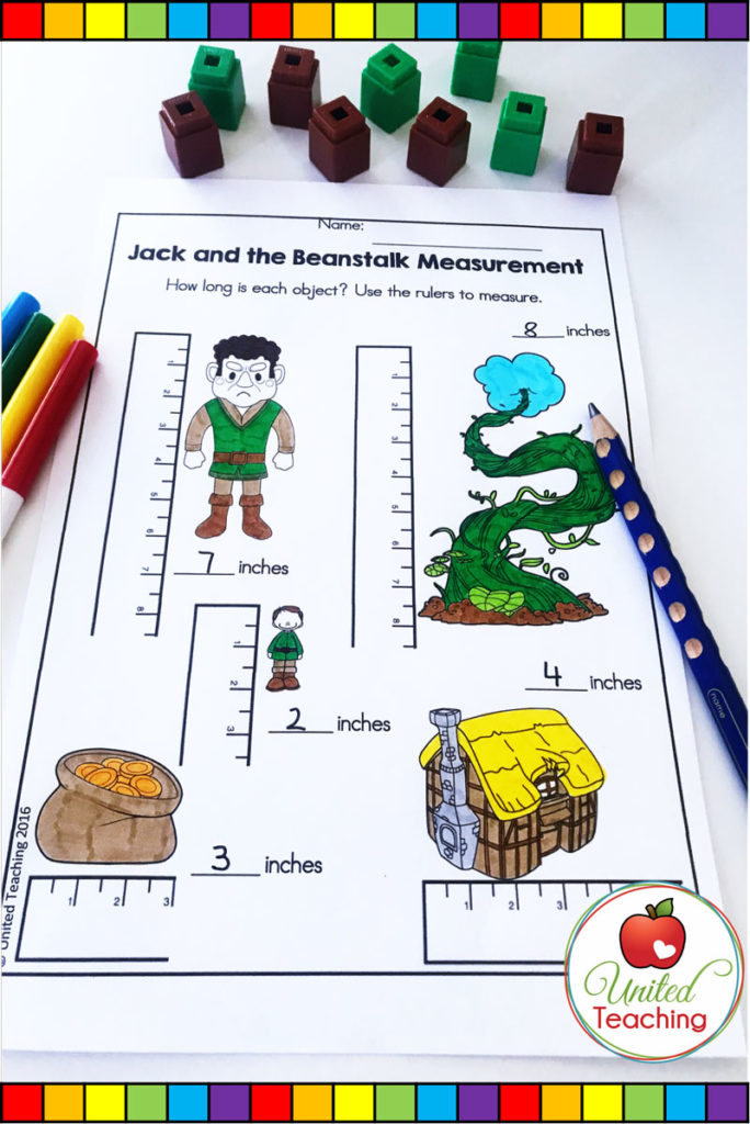 Jack and the Beanstalk fairy tale no prep measuring with inches math activity.