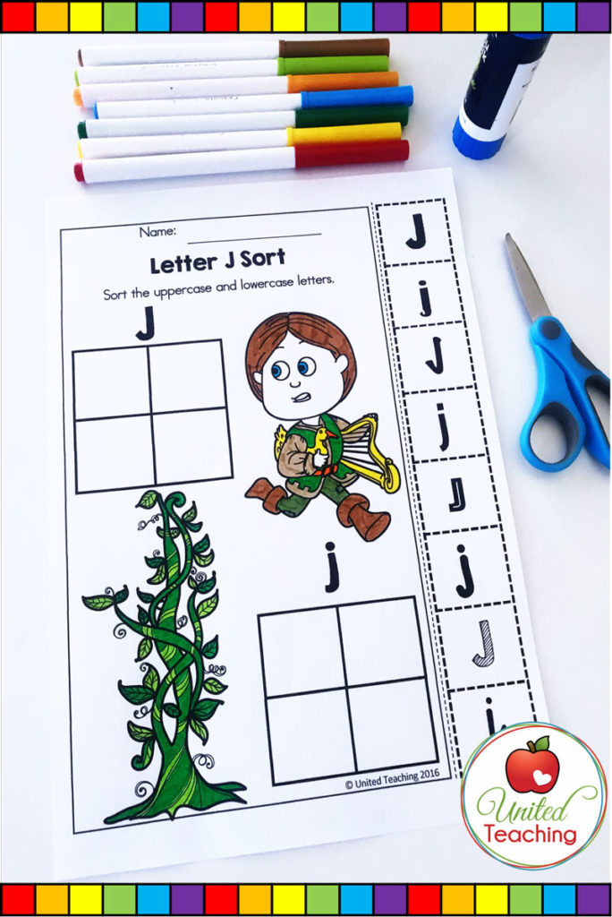 Jack and the Beanstalk fairy tale no prep alphabet activity. Sort the uppercase and lowercase letter J.