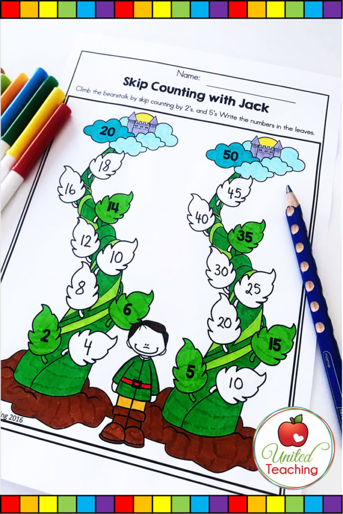 Jack and the Beanstalk fairy tale skip counting no prep math activity.