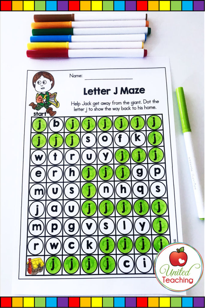 Jack and the Beanstalk fairy tale no prep alphabet activity. Letter J Maze worksheet.