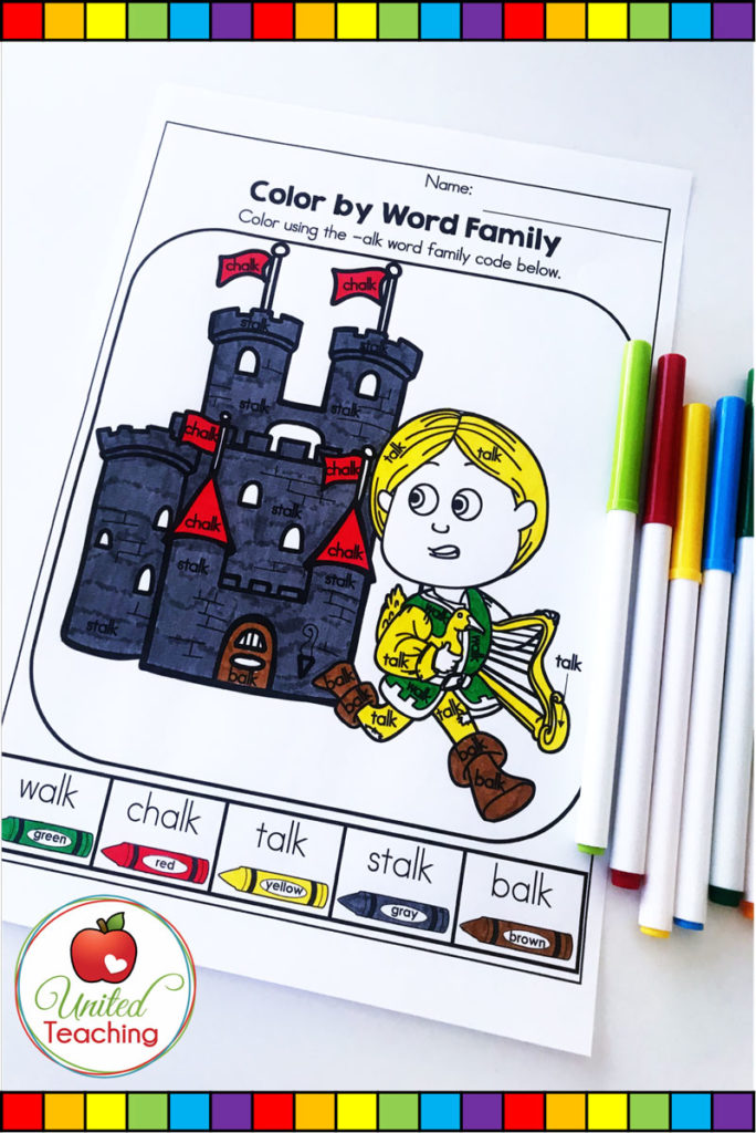 Jack and the Beanstalk fairy tale no prep phonics activity. Color by word family no prep worksheet.