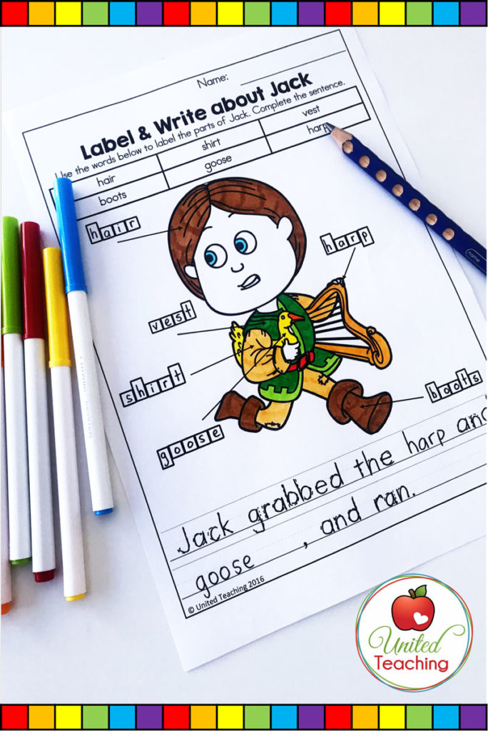 Jack and the Beanstalk fairy tale no prep activity. Label and complete the sentence about Jack.