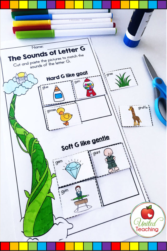 Jack and the Beanstalk fairy tale no prep phonics activity. Hard and soft sounds of the letter G worksheet.
