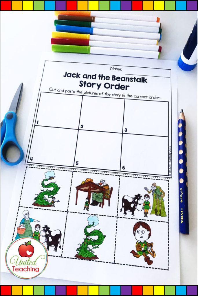 Jack and the Beanstalk fairy tale sequencing activity. Cut and paste the pictures to show the order of events in the fairy tale.