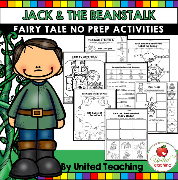 Jack and the Beanstalk Fairy Tale No Prep Activities cover.