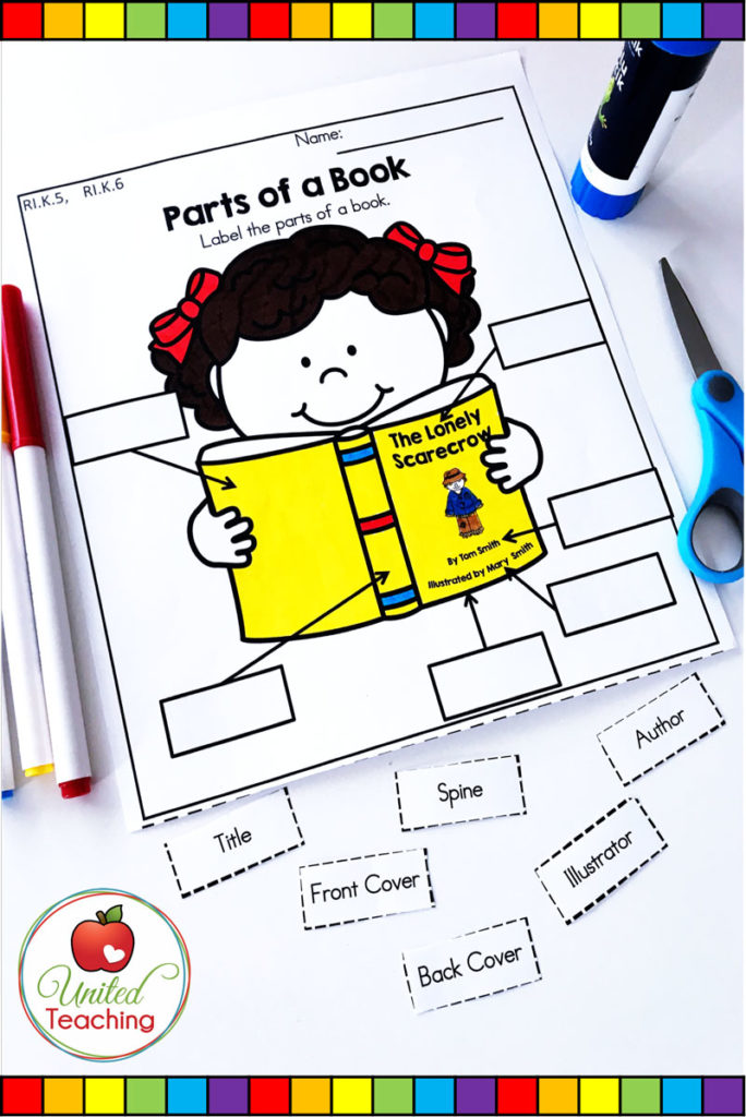 Parts of a Book cut and paste worksheet