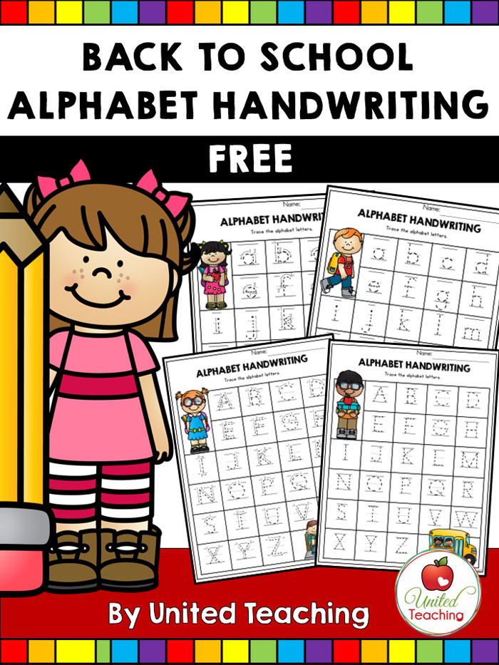 FREE Back to School Alphabet Handwriting Printables