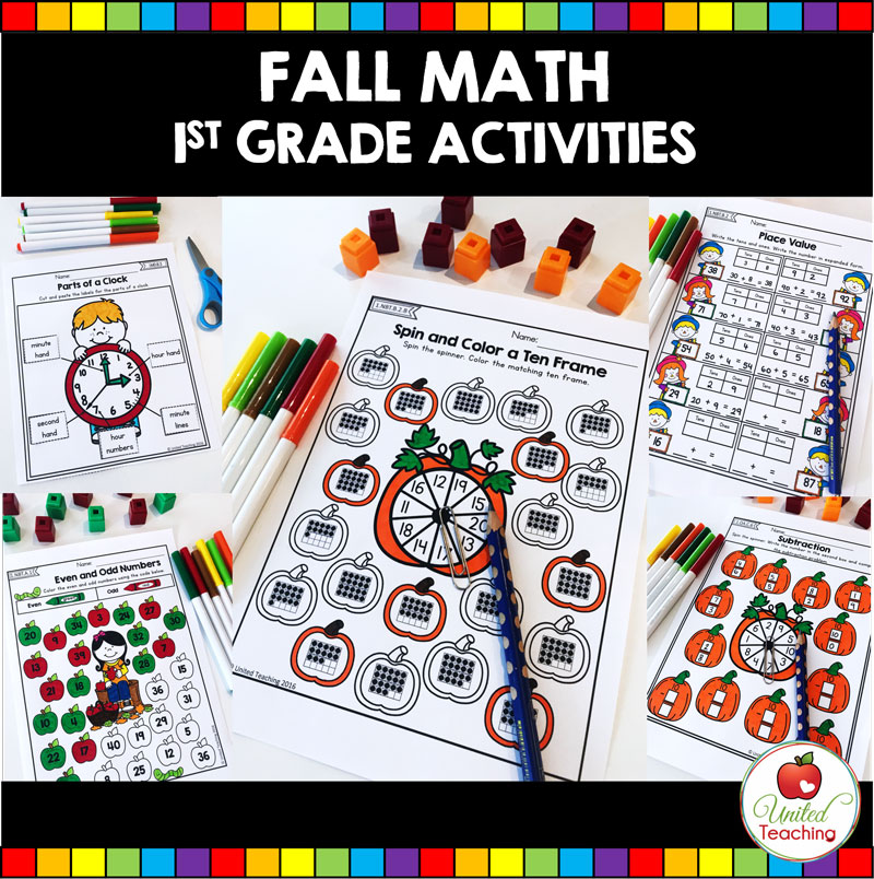 Fall math activities for first grade students.