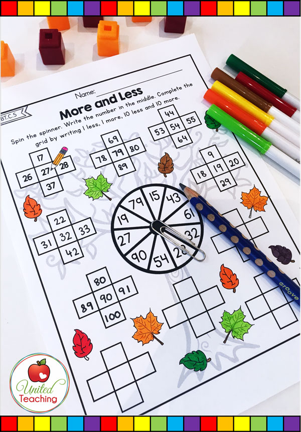 More and Less by 1 and 10 number grid math spinner worksheet.