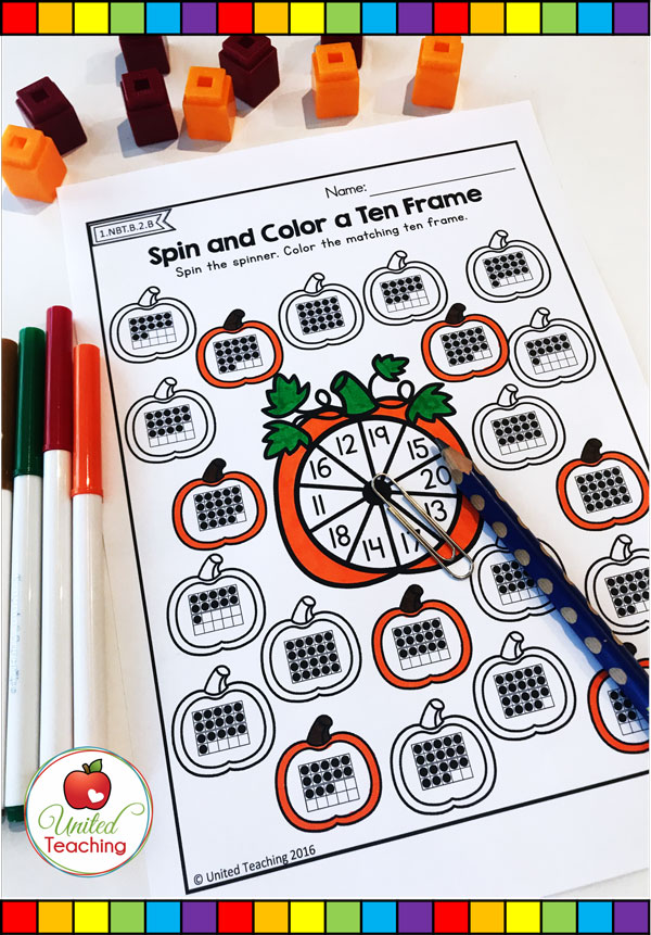 Spin and Color a Ten Frame for numbers 11 - 20 pumpkin themed math worksheet.