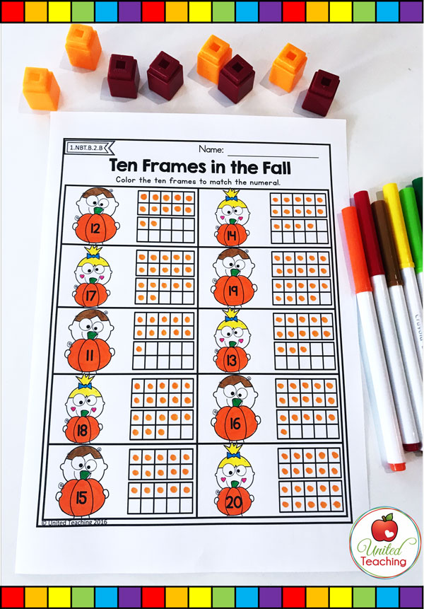 Ten Frames for numbers 11 - 20 Fall themed math worksheet.