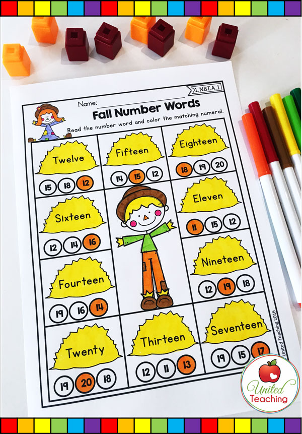 Fall number words for numbers 11 - 20 Fall themed math worksheet.