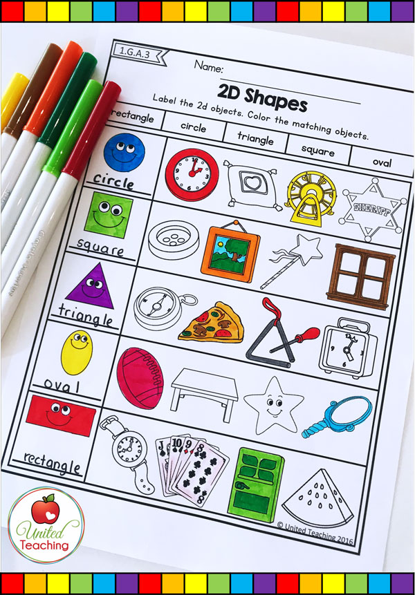 2D shape matching and labeling math worksheet.