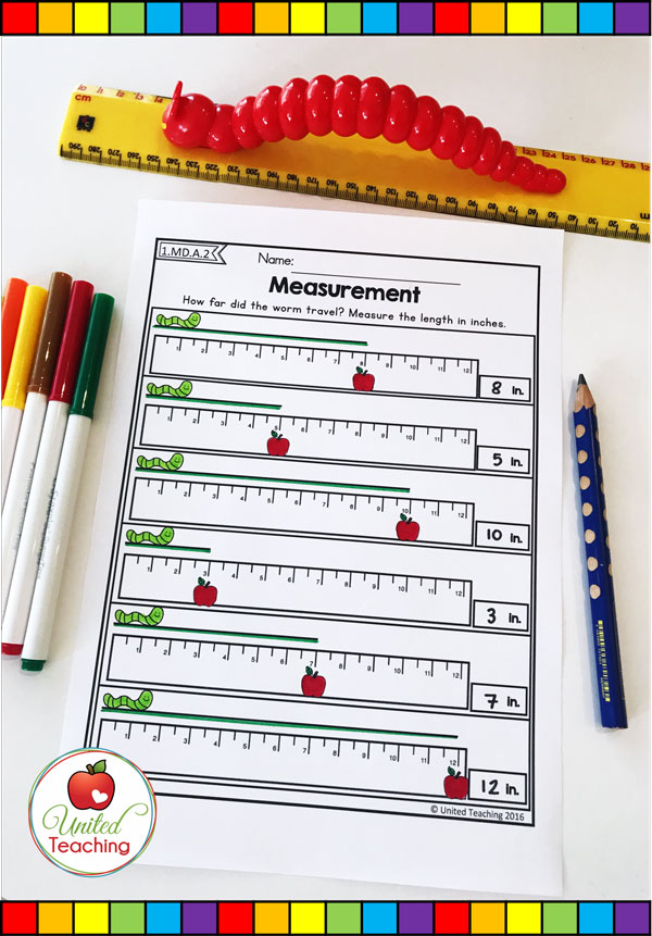Standard linear measurement with inches math worksheet.