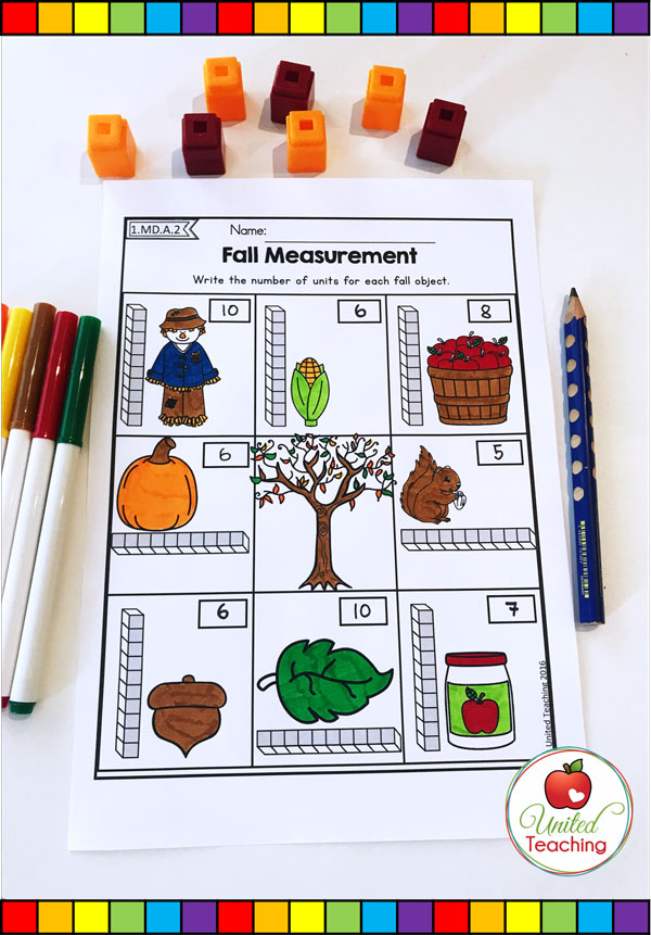 Non-standard measurement with unit blocks fall themed math worksheet.