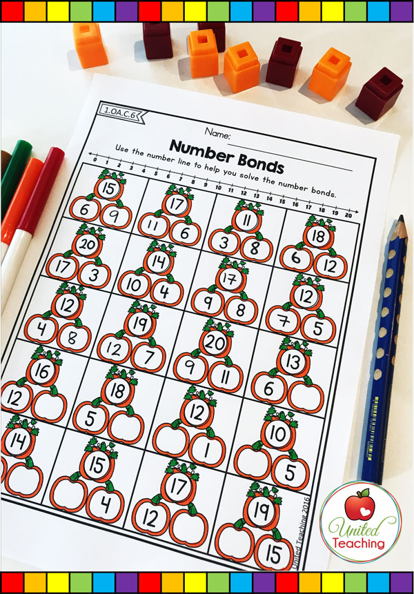 Number bonds to 20 with a number line pumpkin themed math worksheet.