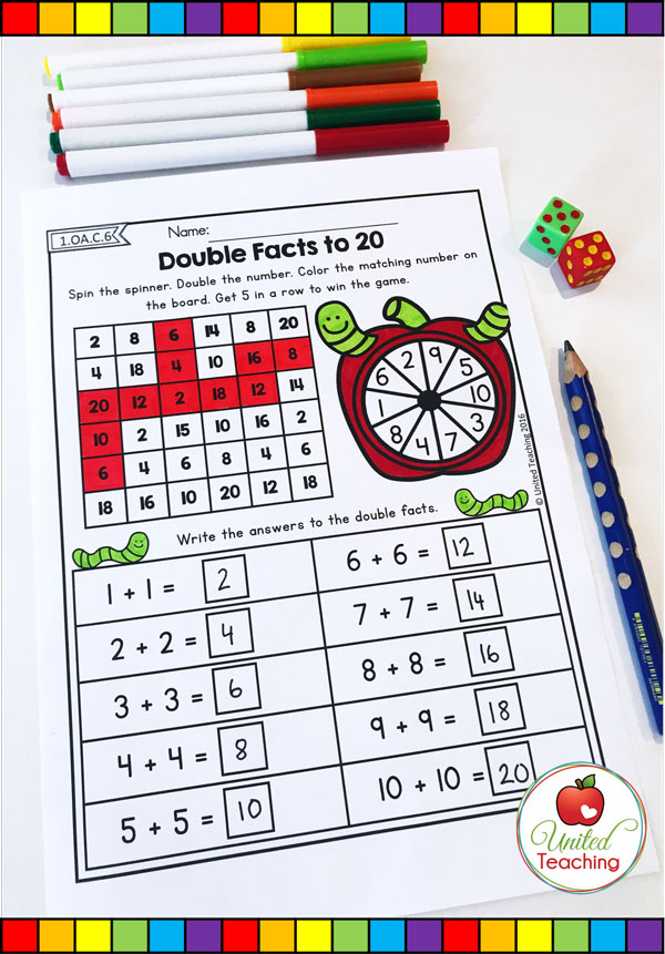 Doubles Facts to 20 5 in a row math spinner worksheet.