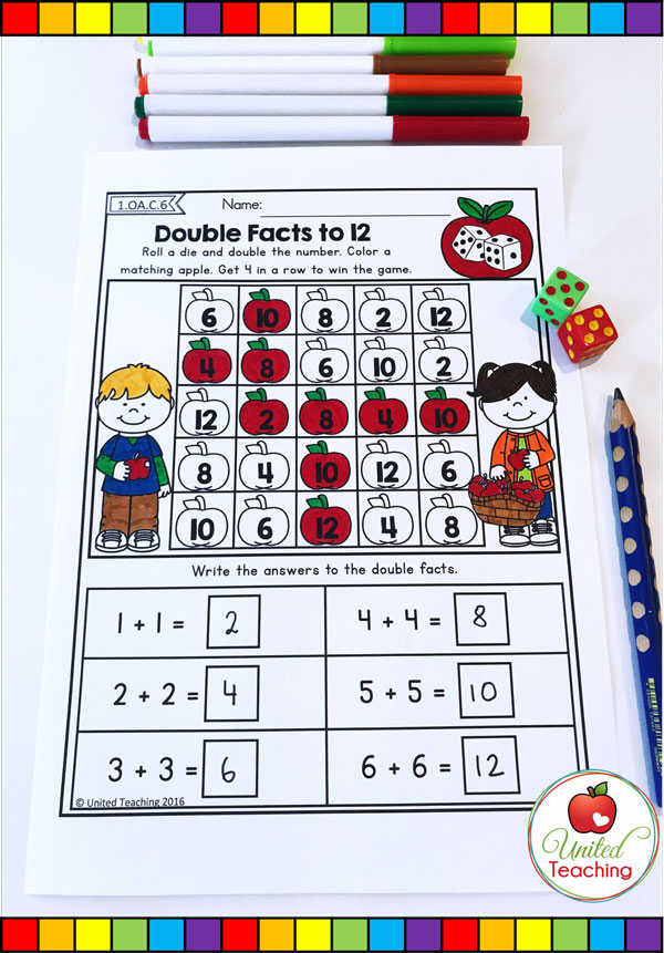 Doubles Facts to 12 4 in a row math dice game worksheet.