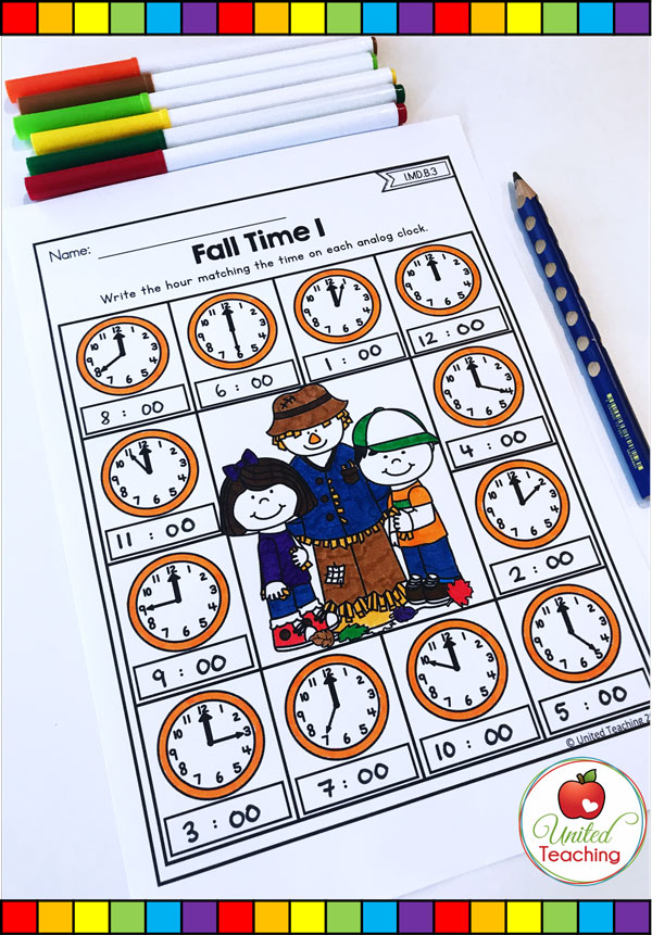 Telling time to the hour Fall themed math worksheet.