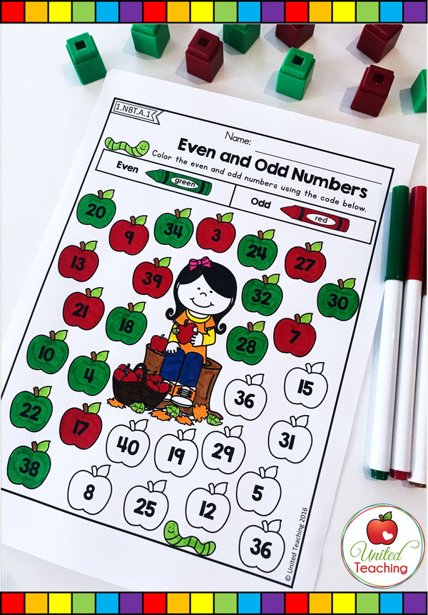 Odd and Even Numbers color by code fall themed math worksheet.