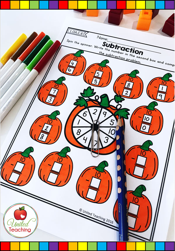 Spin and Subtract pumpkin themed math spinner worksheet.