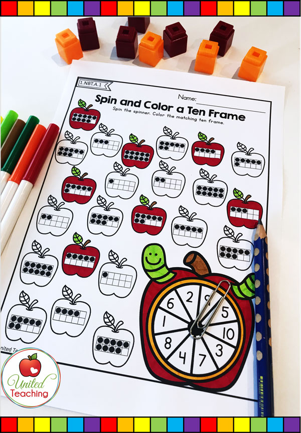 Spin and Color a Ten Frame for numbers 1 - 10 apple themed math worksheet.