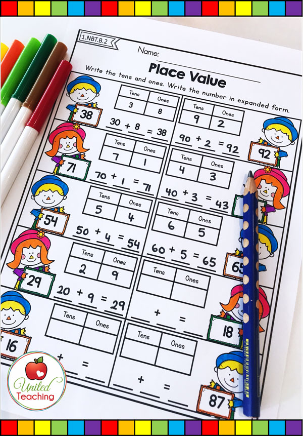 Place value with tens and ones, and writing using expanded form Fall themed math worksheet.