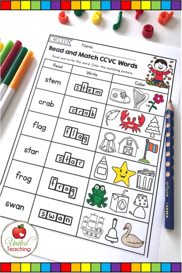 Read and Match CCVC words no prep phonics activity.