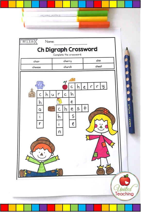 Digraph crossword activity for beginning readers and writers.