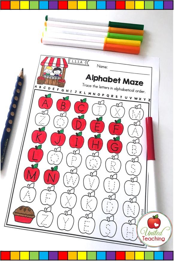 ABC order maze no prep alphabet activity.
