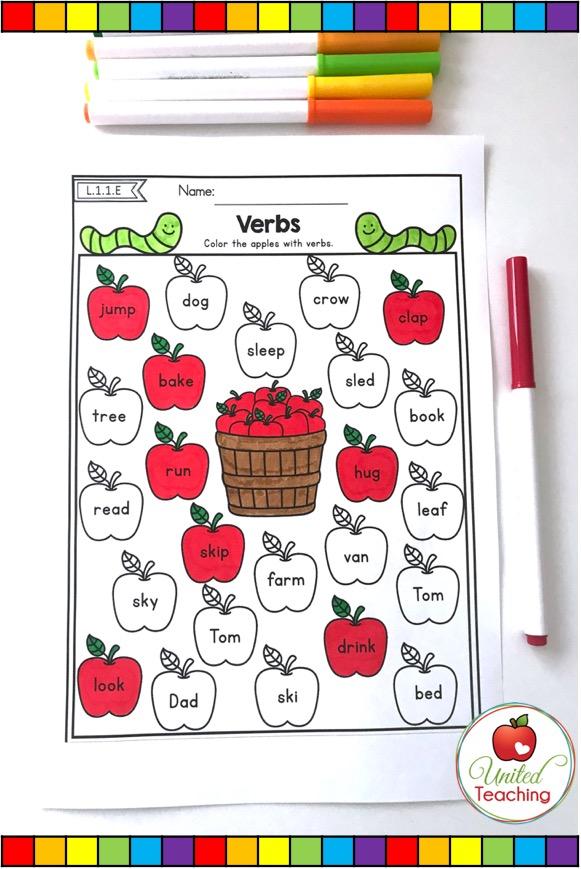 Verbs no prep grammar activity for 1st grade.