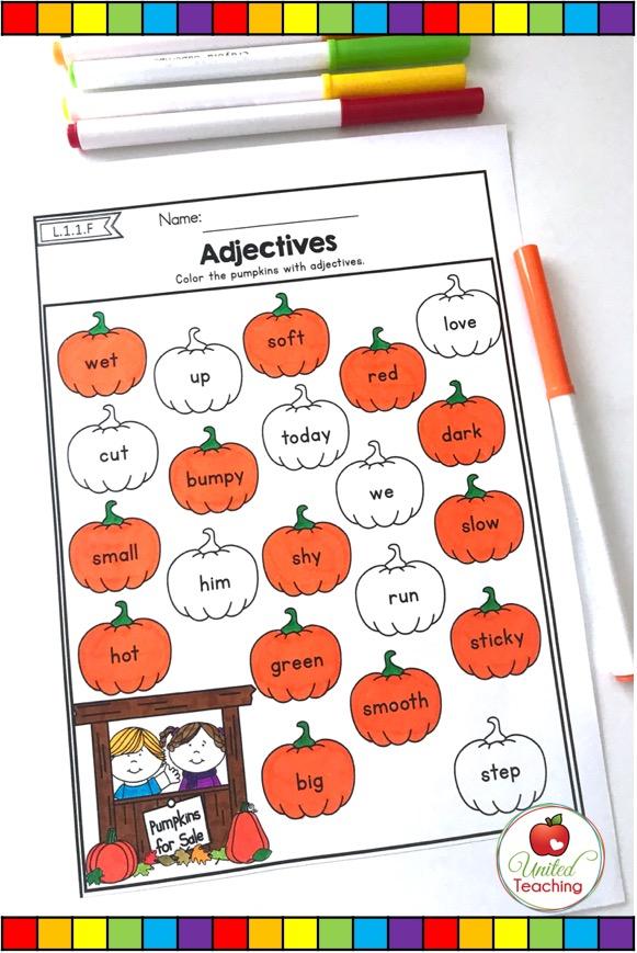 Adjectives no prep grammar activity for 1st grade.