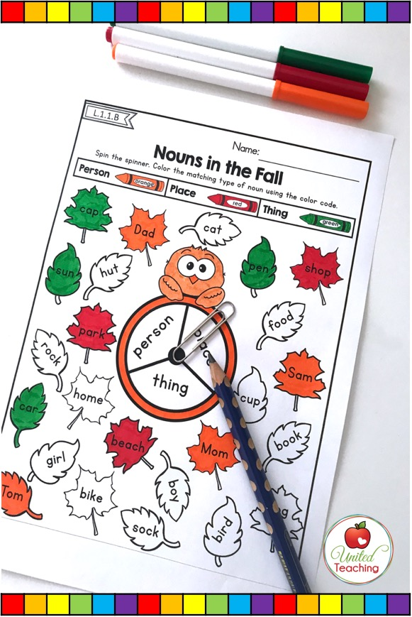 Nouns no prep grammar activity for 1st grade.