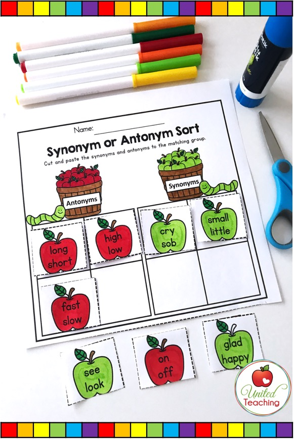 Sorting synonyms and antonyms cut and paste activity for 1st grade students
