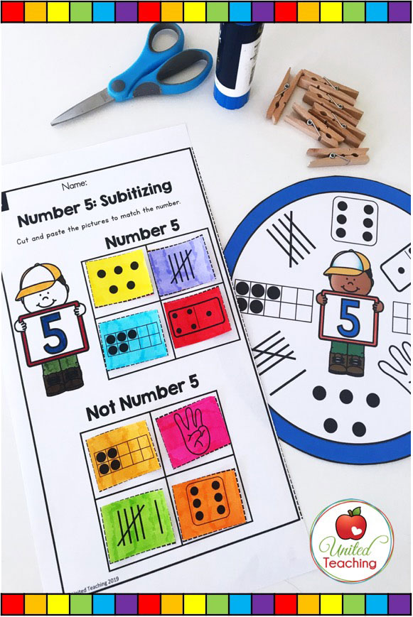Subitizing clip cards and worksheets for building number sense and subitizing skills.
