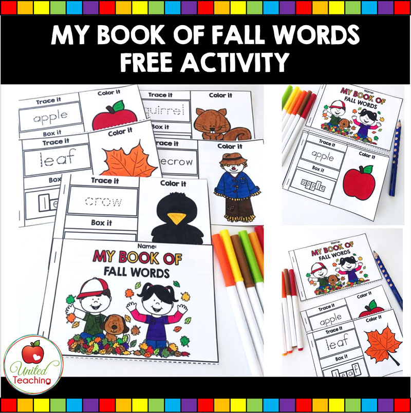 My Book of Fall Words booklet for beginning readers and writers.