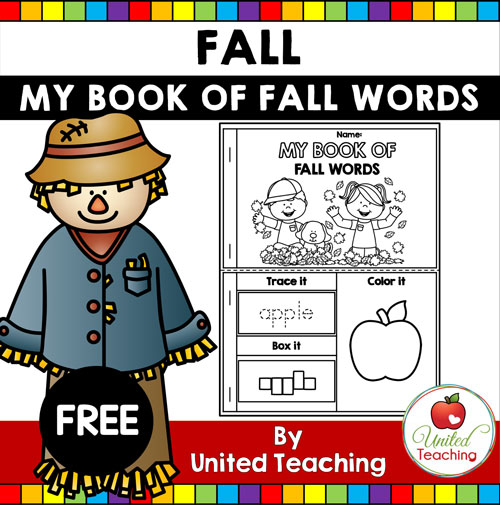 My Book of Fall Words Booklet Printable