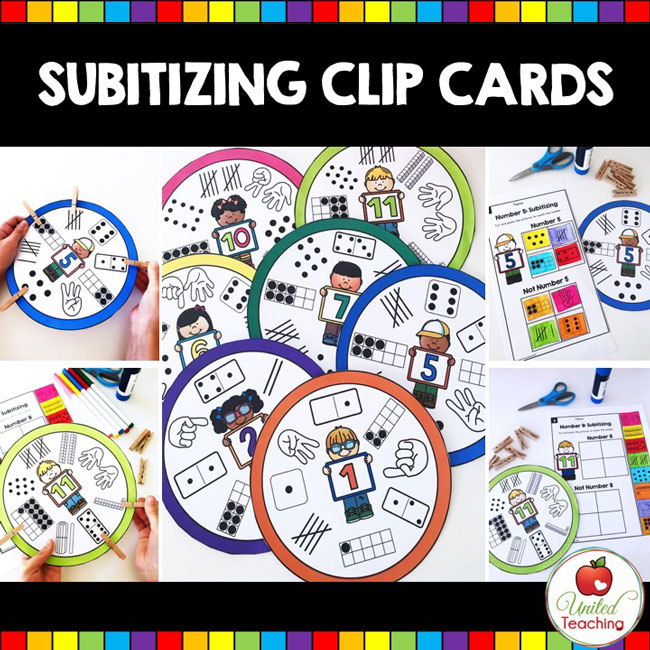 Subitizing Clip Cards and Activities for Kindergarten Students.