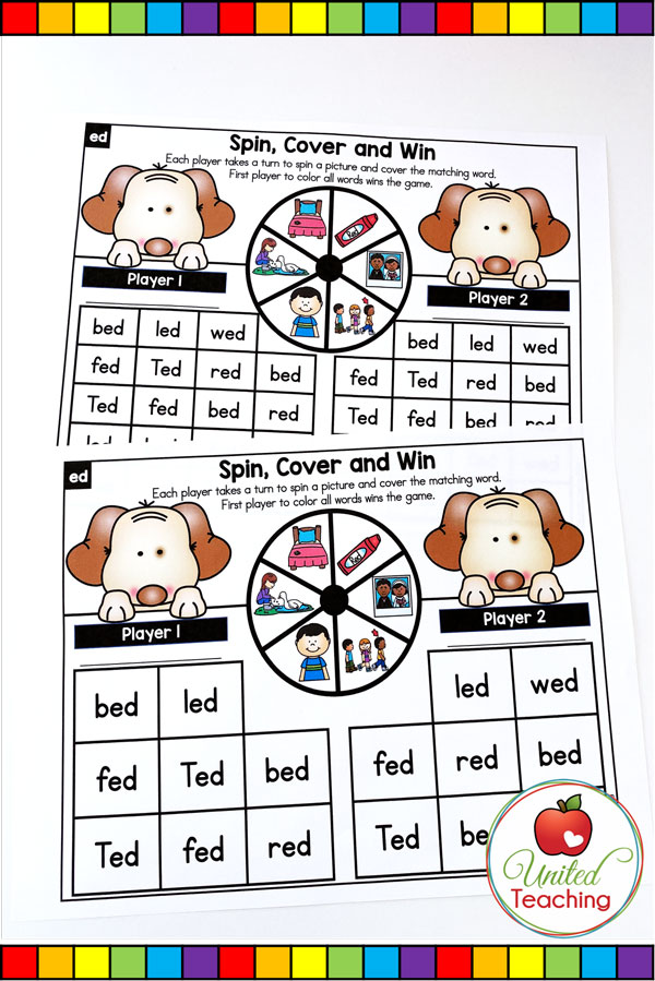 Spin to Win CVC Spin, Cover & Win partner games for beginning readers.