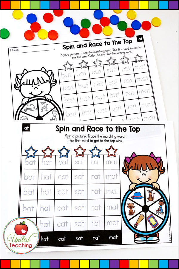 Spin to Win CVC Race to the Top games for beginning readers.