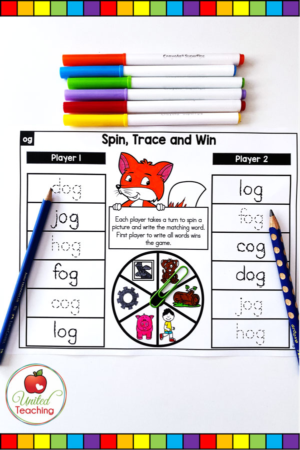 Spin to Win CVC Spin and Trace partner game for beginning readers.
