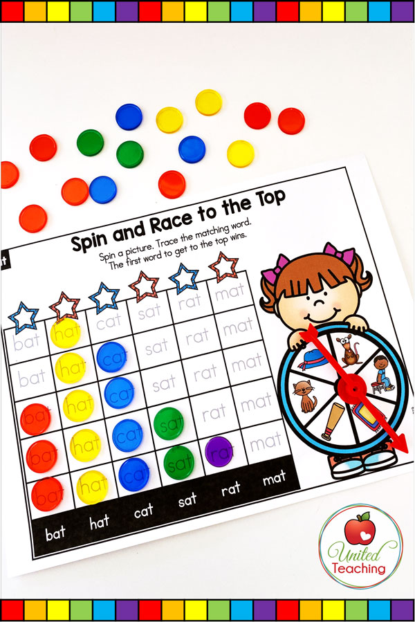 Spin to Win CVC Race to the Top game for beginning readers.