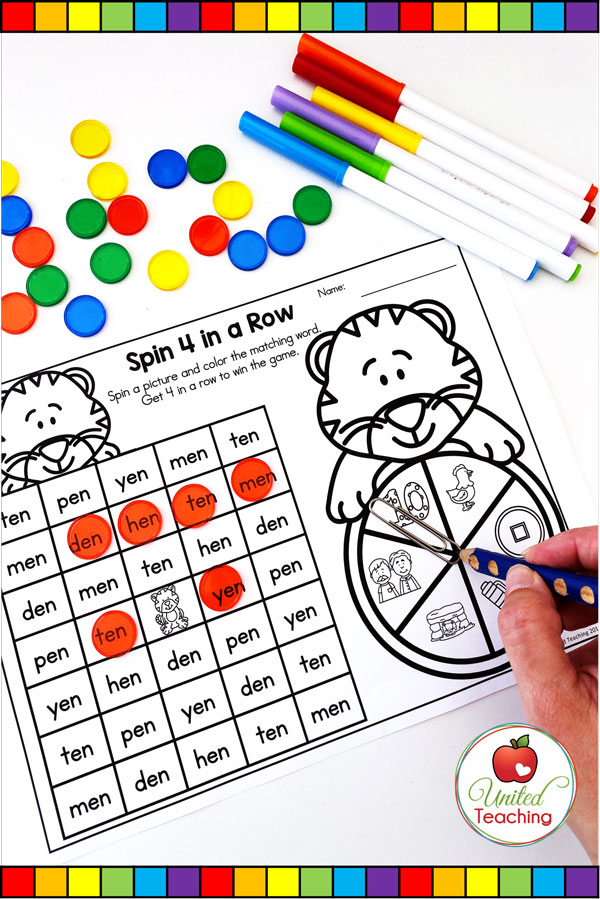 Spin to Win CVC 4 in a Row game for beginning readers.