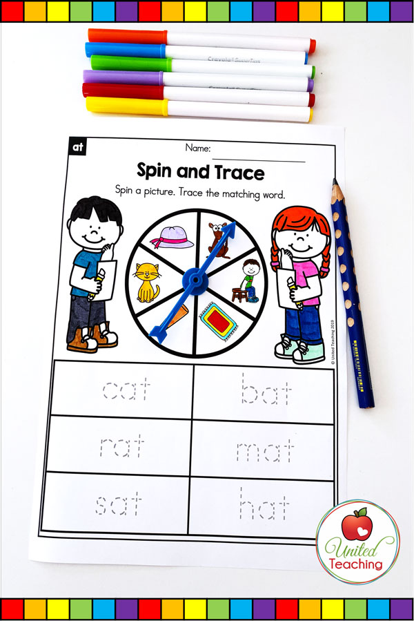 Spin to Win CVC Spin and Trace game for beginning readers.